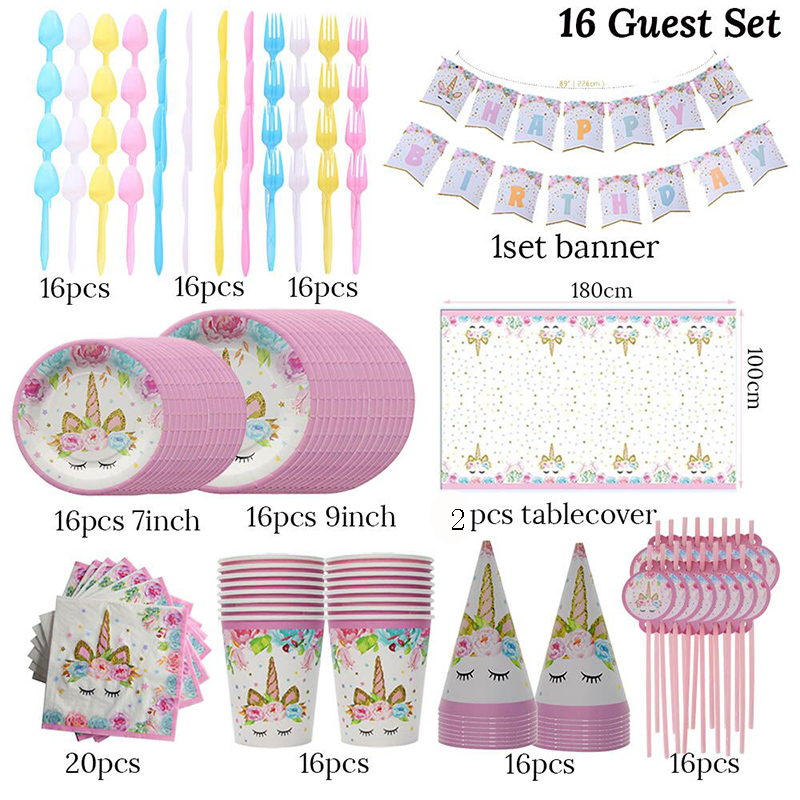 16 Guests Tableware Sets Unicorn Party Birthday Party Decorations Kids Favors Baby Shower Picnic Tablecloths Napkin Cup Supplies