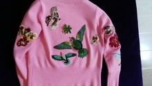 VogaIn 2016 Luxury Runway New Fashion Blue Heavy Embroidery Flowers Sweater Crystals Beading Knitwear Women Sweaters Pullover