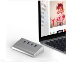Высокое качество концентратор USB3.0 быстро Скорость 4 Порты Тетрадь компьютер разветвитель расширитель для планшета периферийные устройства серебро