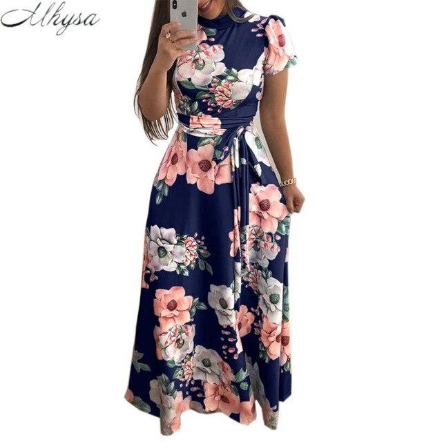 140510c49 2018 Verão Vestido Longo Floral Imprimir Boho Vestido de Praia Túnica Maxi  Vestido Mulheres Do Partido