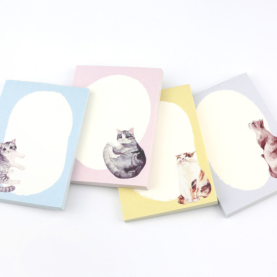 4 Pcs/lot Cat Memo Pad Cute Kawaii Animal Sticky Notes Memo Notebook Stationery Papelaria Escolar School Supplies Memo Pad Gift the color of the rainbow cloud memo pad sticky notes memo notebook stationery papelaria escolar school supplies