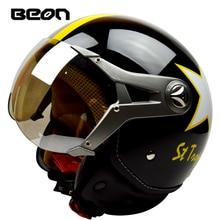 BEON Motorcycle Helmet Half Face Goggles Visor Vintage Motorbike Helmet Capacete Motorcycles Electric Bicycle Harley Helmets