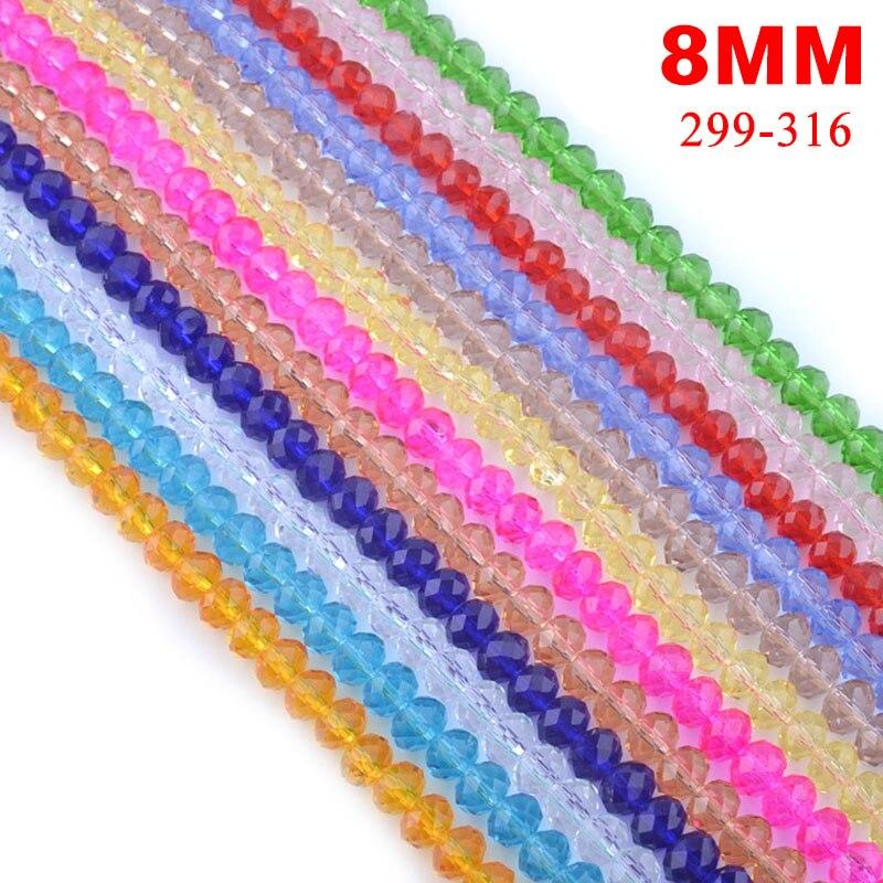 30pcs / Lot 8 milímetros 5040 AAA Top Quality Mixed facetada cristal rondelle Spacer Beads Para Jóias Fazendo frete grátis # 299-316