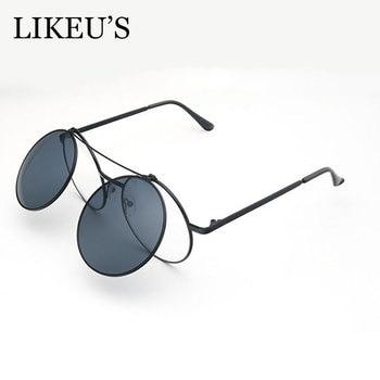 293a408417 LIKEU'S Vintage de las mujeres de los hombres de la cubierta gafas de sol  de Metal redondo gafas Steampunk Concha lentes Flip Up Punk gafas de sol