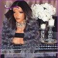 8A Melhor 1B/cinza perucas de cabelo humano ombre Brasileira cheia do laço humano perucas de cabelo onda do corpo de dois tons glueless parte dianteira do laço do cabelo humano perucas