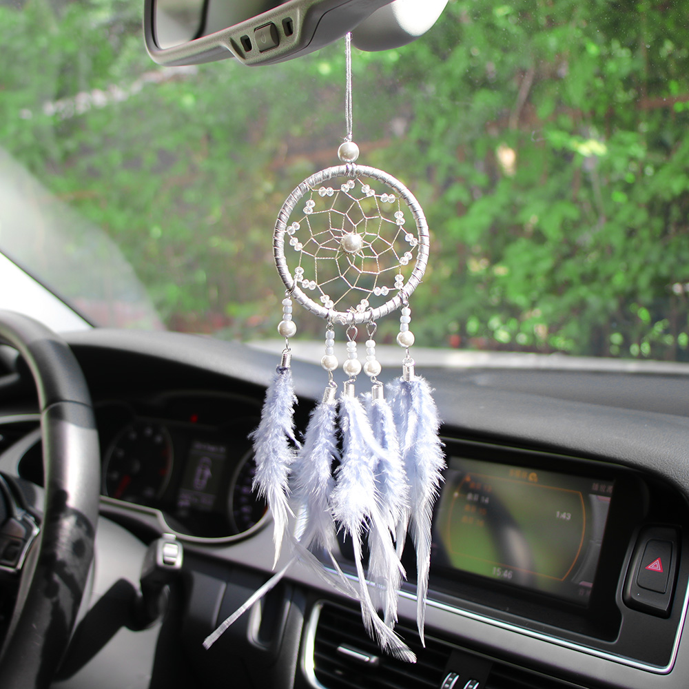 Happy reunion Crystal Ball 1.37 Fashion Car Rear View Mirror Charm Key Ring Car Pendant Decor Lucky Safety Hanging Ornament Gift for Car Interior Decoration Car Accessories White