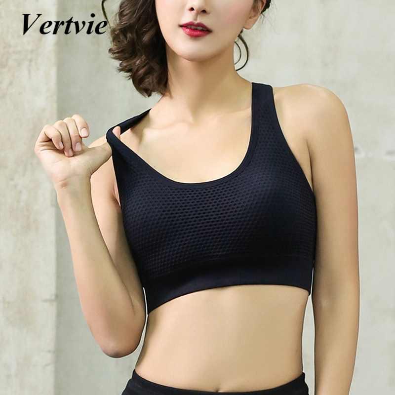 56e66e39b23 ... Vertvie Women s Sports Bras Fitness Yoga Cross Strap Push Up Sport Bra  Gym Running Padded Tank ...