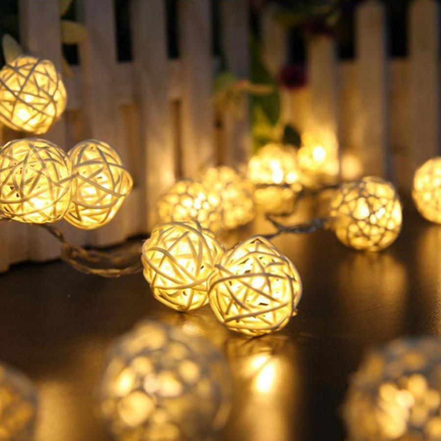 6m 40leds <font><b>10m</b></font> <font><b>100leds</b></font> Rattan Ball led Fairy String <font><b>Lights</b></font> AC110-220V Christmas Outdoor Patio Garland Party Wedding Decoration image