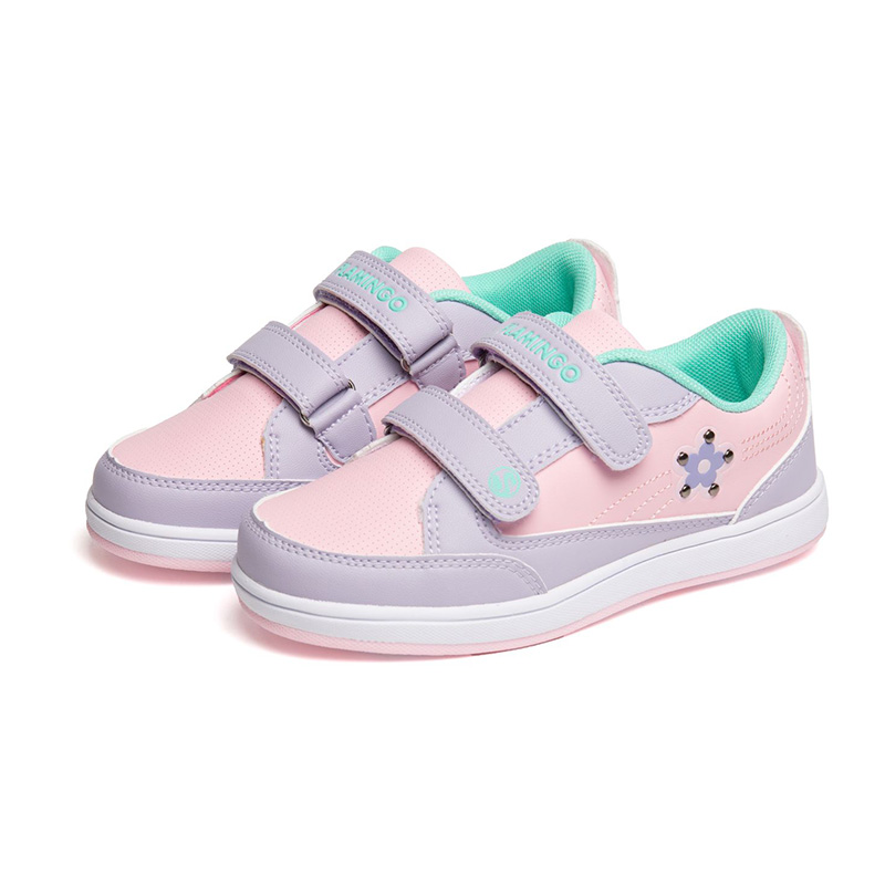 FLAMINGO Print Spring Genuine Leather Breathable Hook& Loop Outdoor Sneakers Size 27-32 Casual Shoes for Girl 71P-NQ-0030 flamingo print table mat