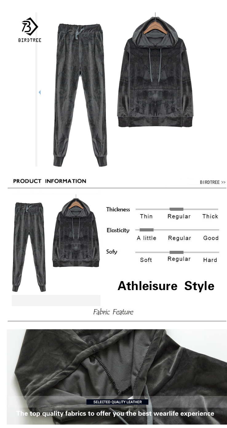 Velvet Tracksuit Two Piece Set Women Sexy Hooded Grey Long Sleeve Top And Pants Bodysuit Suit Runway Fashion 18 Black D79101 1