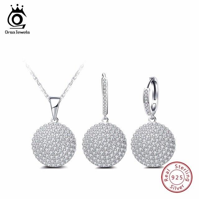 ORSA JEWELS Настоящее 925 пробы серебро Для женщин Ювелирные наборы простой круглый дизайн AAA кубический цирконий ожерелье Для Вечеринки серьги ...