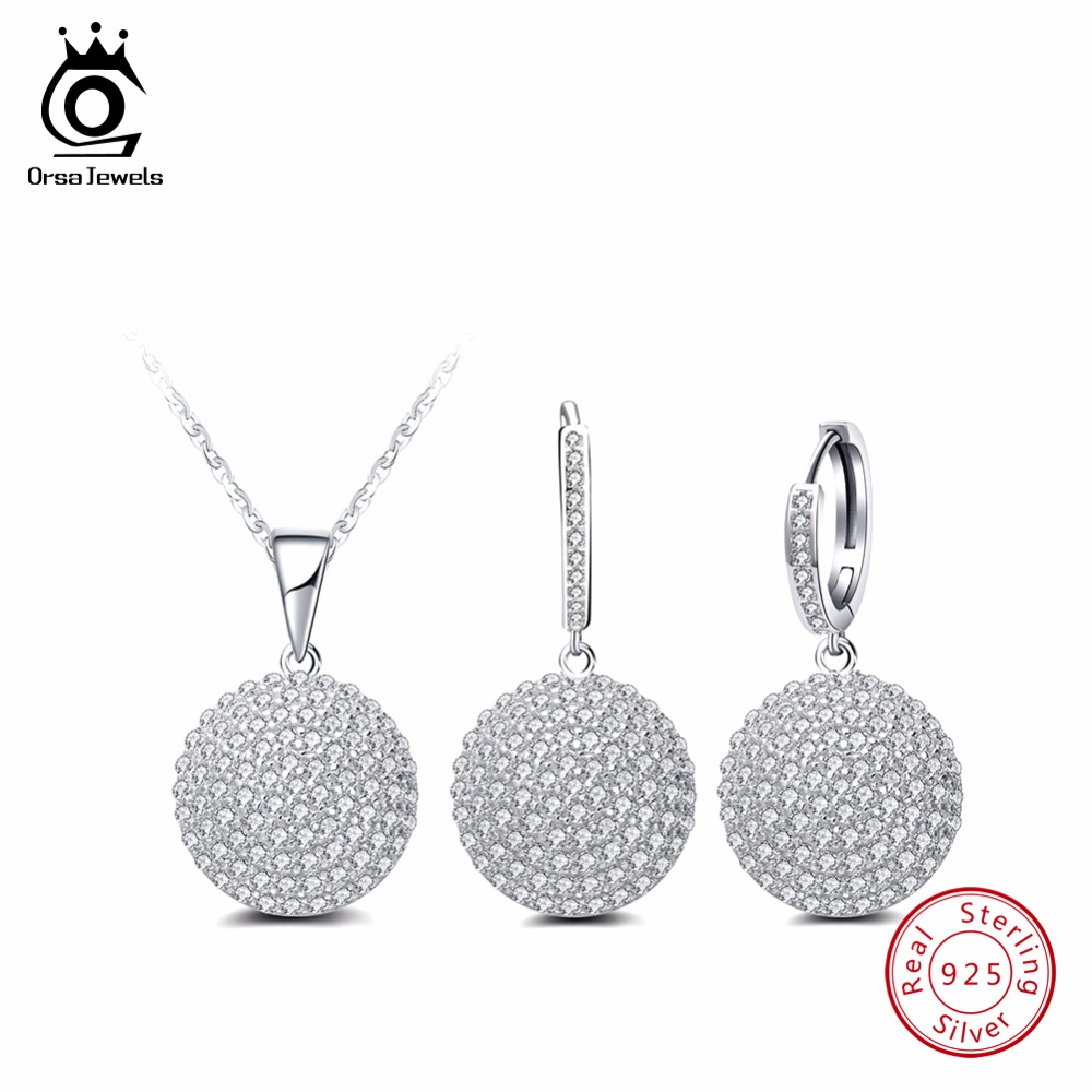 ORSA JEWELS Genuine 925 Sterling Silver Women Jewelry Sets Simple Round Design AAA Cubic Zirconia Party Necklace Earrings SS04