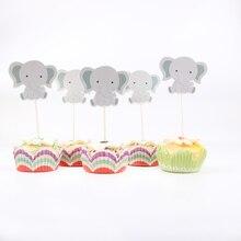 24 pcs/lot mignon petit éléphant thème fête Cupcake Toppers pour famille bébé douche fête danniversaire décoration fournitures