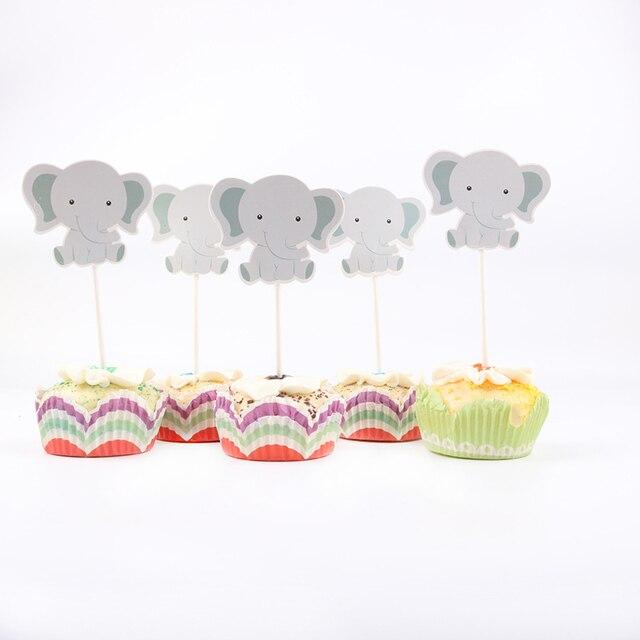 24 pz/lotto Carino piccolo elefante Tema Del Partito Del Bigné Toppers Per La Famiglia del bambino doccia Festa di Compleanno Decorazione Forniture