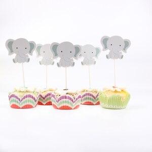 Image 1 - 24 ピース/ロットかわいい象のテーマパーティーのためのカップケーキトッパー家族ベビーシャワーの誕生日パーティーの装飾用品