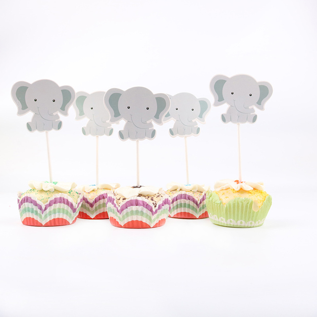 24pcs/lot Cute little elephant Theme Party Cupcake Toppers   For Family baby shower Birthday Party  Decoration Supplies