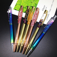 5pcs /lot Colorful  Crystal Ballpoint Pen Metal Pen office and school supplies Novelty as Bussiness Luxury  Gift
