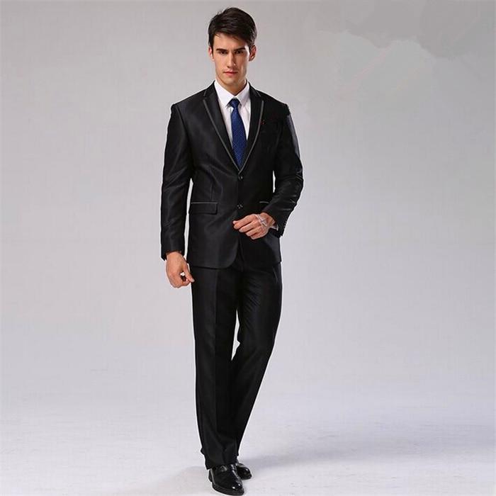 Пиджак+ брюки+ галстук+ платок) Мужской костюм Блейзер хлопковый брендовый Дизайнерский Костюм для работы, свадьбы строгие блейзеры CBJ-F1316 - Цвет: shinny black 2