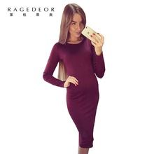 2017 summer  New Long Sleeve Knee Length Midi Pencil Dress Slim  Bodycon  Sheath  club party Women Dresses  Vestidos De Fiesta