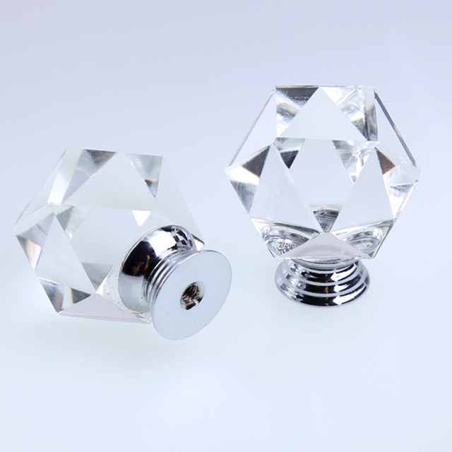 Modern Simple Fashion Creative Polygon Clear Glass Drawer Tv Cabinet Knobs  Pulls Silver Chrome Kitchen Cabinet