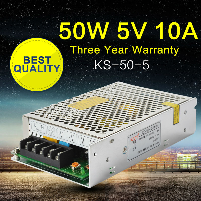 5V Power Supply 10A 50W AC-DC 220V to 5V Switching Power Supply for Led Strip 3D Printers Repeater VHF Ham Radio 100% Authentic best quality 12v 15a 180w switching power supply driver for led strip ac 100 240v input to dc 12v