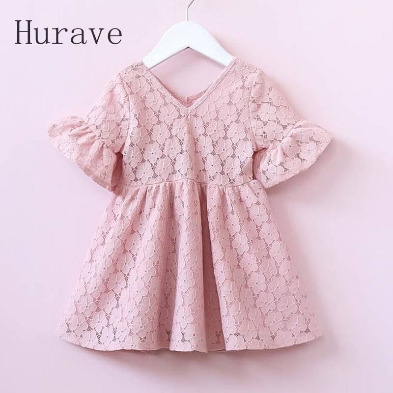 Hurave 2017 fashion Summer girls dress lace dress for kids clothes dresses princess children summer vestidos children dresses 2017 summer fashion style girls lace princess dress kids sleeveless embroidery cute clothes dress for 3 7y