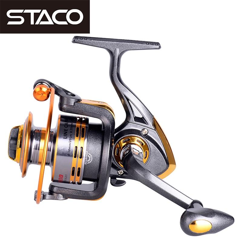 STACO 500-6000 Series Metal Seat Spinning Fishing Reel 6/8/10BB Fishing Reels Fake Bait Carp Reel For River Lake Reservoir Pond