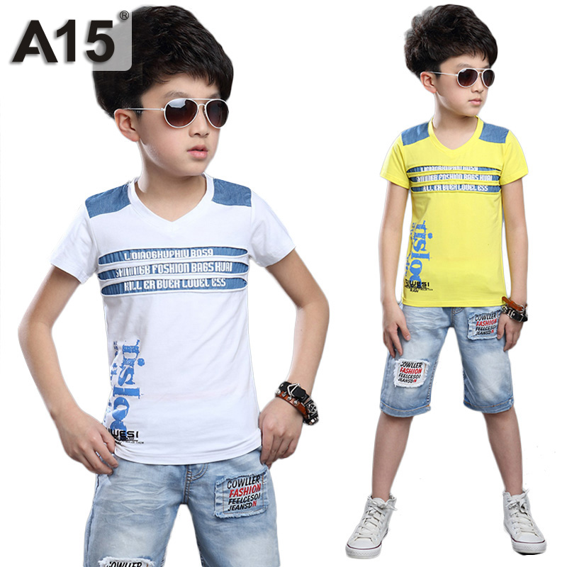 A15 toddler boys clothing set 2017 new summer boutique t for 7 year old boy shirt size