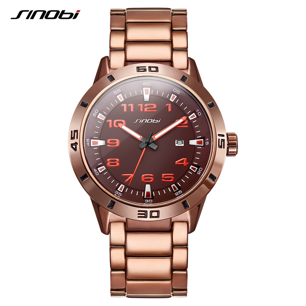 SINOBI Business Men Watches Steel Chain Unique Dial Hour Minute Display Brown Color Quartz Wristwatch Leisure Relogio Masculino