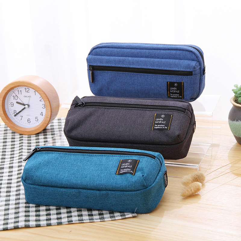 Large Capacity Students Effective New Simple Canvas Bag Stationery Bag Junior High School Supplies Pencilcase Pencil Cases