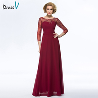 Dressv Long Red Mother Of The Bride Dress Bateau Neck A Line Three Quarter Sleeves Beading
