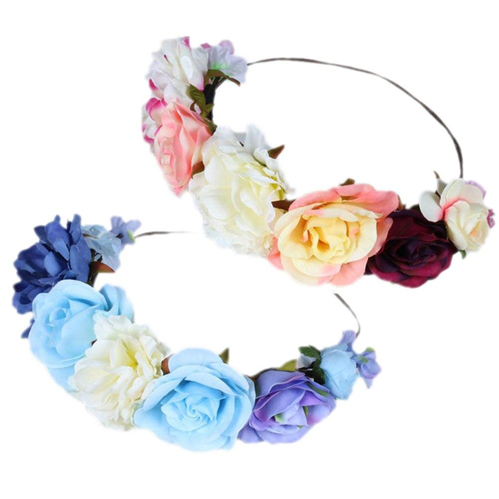 Women girls fake flower wreath garland crown headband for wedding women girls fake flower wreath garland crown headband for wedding halloween party hair accessories m23 in hair jewelry from jewelry accessories on izmirmasajfo