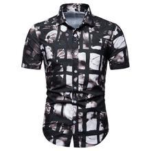 New model Shirts Men Floral Short-sleeved Shirt Dress Fashion Loose Blouse Mens Clothing Summer