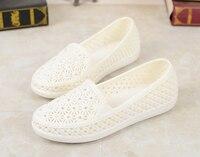 MoBeiNi 2018 Summer white plastic sandals soft bottom mother shoes flat bottom rhinestone beach shoes rain boots