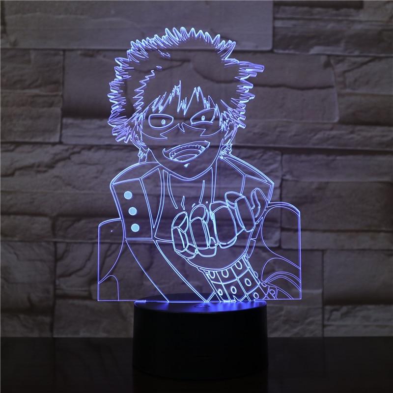 USB 3D LED Night Light My Hero Academia midoriya izuku Figure Boys Child Kids Baby Gifts Japanese anime Table Lamp Bedside in LED Night Lights from Lights Lighting