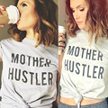 Women Fashion Charming Girls Stylish Tee Mother Hustler Short Sleeve Crewneck O Neck Casual Top T-Shirt Light Gray