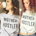 Women  Top T-Shirt Fashion Charming Girls Stylish Tee Mother Hustler Short Sleeve Crewneck O Neck CasualLight Gray