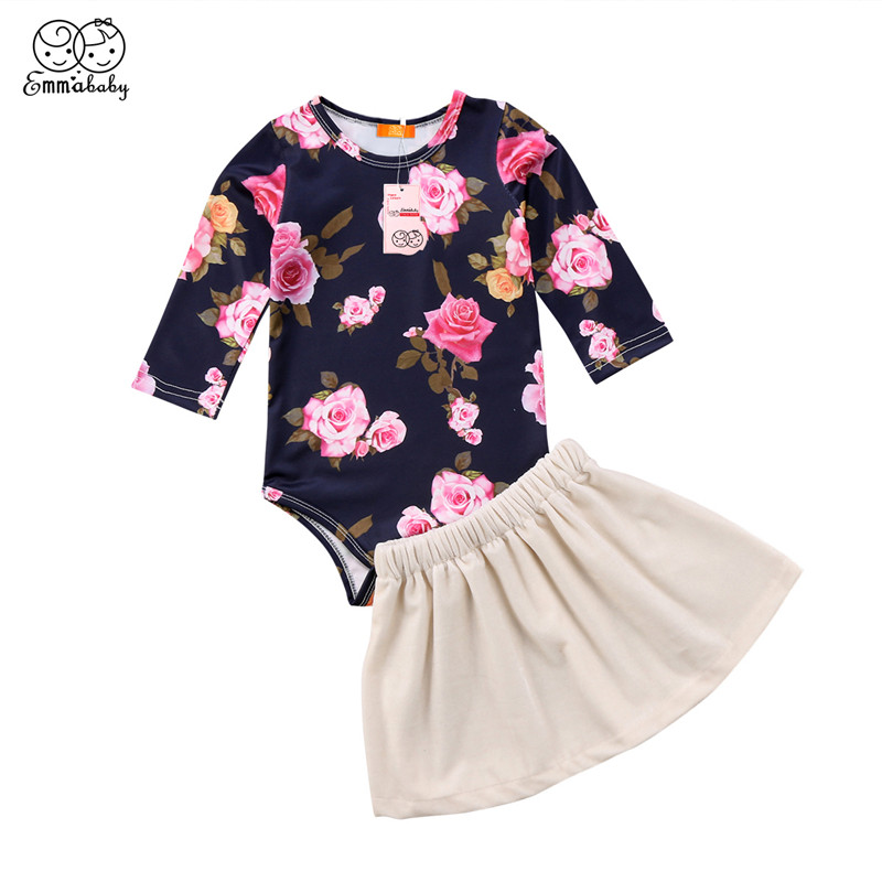Cute Newborn Baby Girl Clothes Set 2018 Baby Long Sleeve Floral Romper Bodysuit Tops+Velvet Skirts 2PCS Outfit Princess Costume