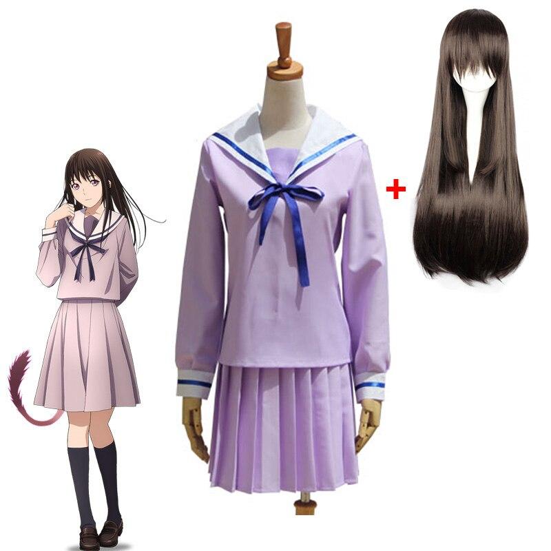 Горячее аниме норагами, юкине Iki Hiyori школьная форма матросский костюм косплей костюмы матросское косплей платье парик Бесплатная доставка!