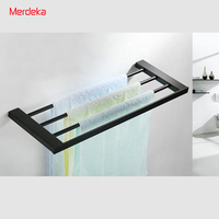 60CM Wall Mounted Black Painted Stainless Steel Towel Rack Bathroom Holders