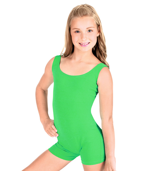 Lycra Cotton Kids Tank Green Gymnastics Biketard Unitard Shorty One Piece Spandex Dance Costumes Youth Dance Leotard