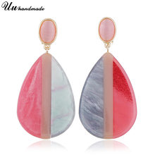 Earring Wholesale Acrylic Big Drop Water Earrings Black&White Color Dangle Earrings 2018 New Arrivals Fashion Jewelry for momen(China)