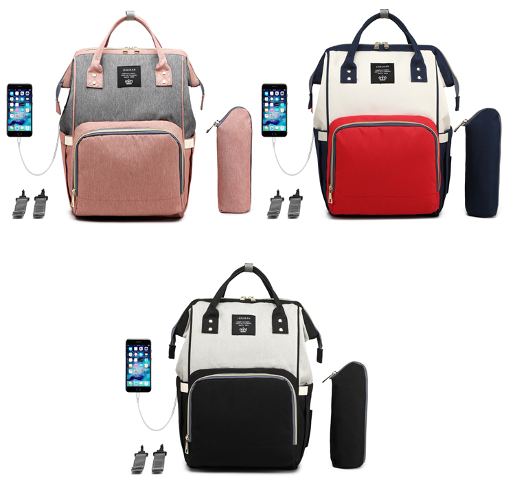 HTB1GAggaYj1gK0jSZFuq6ArHpXaQ LEQUEEN USB Diaper Bag Baby Care Backpack for Mom Mummy Maternity Wet Bag Waterproof Baby Pregnant Bag