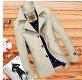 Frete grátis! 2015 hot saleYoung e de meia-idade homens jaqueta seção fina longo casaco grandes estaleiros de lazer roupas dos homens