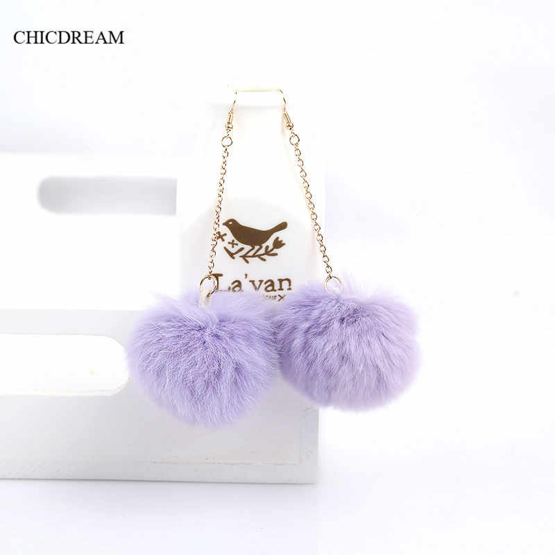 5 Colors Lovely Bunny Fur Ball Earrings Pom Pom Drop Earrings for Women Girls Dangle Earrings Fashion Jewelry Wholesale Price