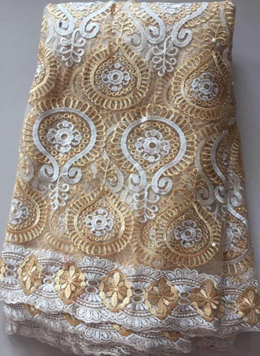 African Lace Fabric 2019 Embroidered Nigerian Laces Fabric Bridal High Quality French Tulle Lace Fabric For Women ALL3240 gold