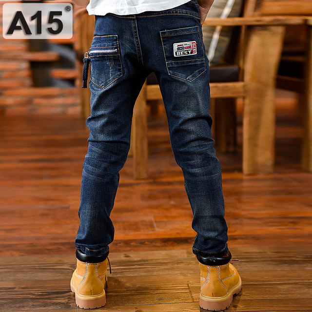 A15 Ripped Jeans for Kids Boys Jeans 2018 Fashion Long Length Kids Pants Children Trousers Teenage Clothing Size 8 10 12 14 Year