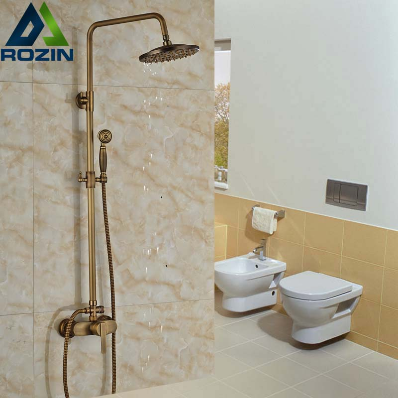 Retro Style Shower Faucet Set Single Handle with Handheld Shower Mixer Taps Wall Mount Antique Brass wall mount single handle bath shower faucet with handshower antique brass bathroom shower mixer tap