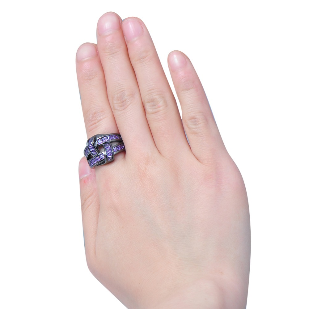 Unique Design Purple Zircon Ring Black Gold Filled Wedding Party ...