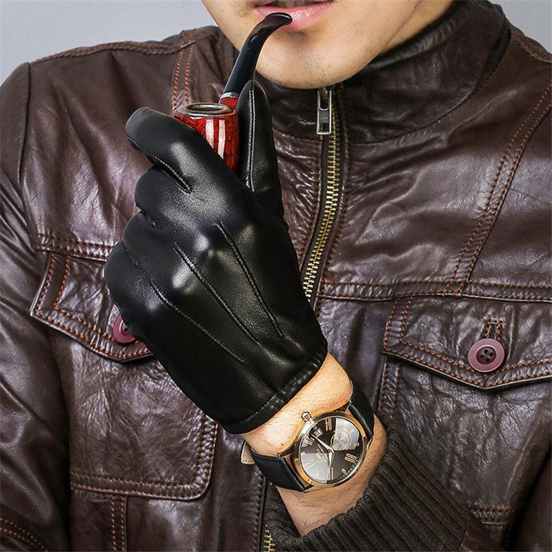 Genuine Leather Gloves Male Short Style Man Sheepskin Gloves Winter Warm Plus Velvet Thicken Driving Classic Black  DQ1912